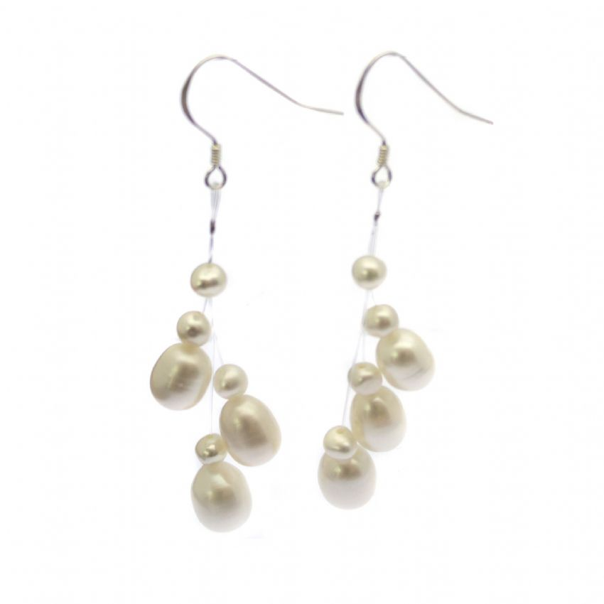 Floating Illusion Style Pearl Earrings on Sterling Silver Hooks